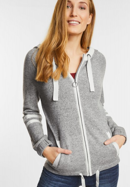 CECIL - Strickjacke mit Kapuze in Middle Grey Melange