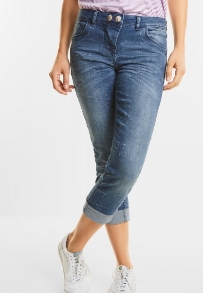 CECIL - Denim mit Sternen Scarlett in Authentic used wash Mid Blue