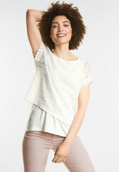 Street One - Lagen Spitzen Shirt in Off White