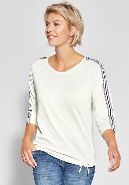 CECIL - Shirt mit Mustermix-Streifen in Pure Off White