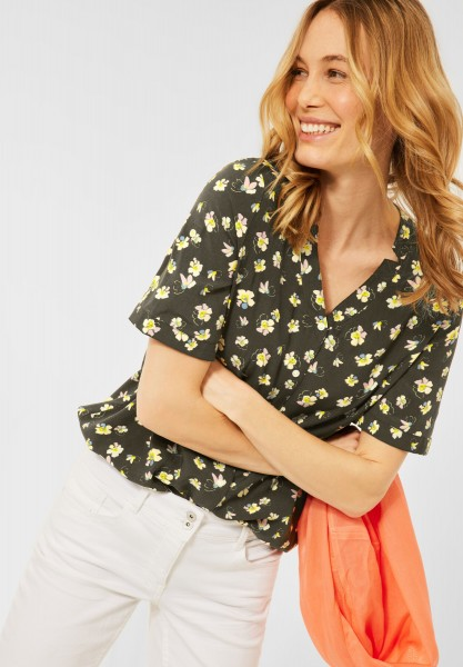 CECIL - Bluse mit Blumen Muster in Utility Olive