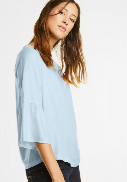 Street One - Bluse mit Volant am 3/4-Arm in Bleached Ice