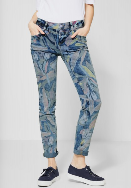 Street One - Denim Jane mit Blumenmuster in Soft Blue Heavy Wash Printed