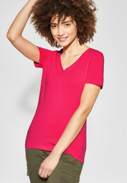 Street One - Shirt mit V-Neck Rhea in Dark Blossom Pink